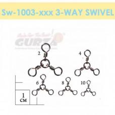 Вертлюжки Gurza-3-way swivels (тройной) ВК № 6 (7шт./уп)