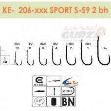 Крючки Gurza - SPORT S-59 2BH  # 1/0 BC 8 шт/уп.  (широкое ухо)