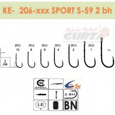 Крючки Gurza - SPORT S-59 2BH  # 1 BC 8 шт/уп.  (широкое ухо)