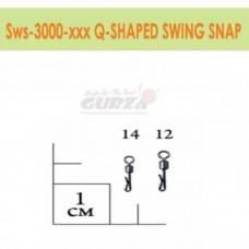 Застежка с вертлюжком Gurza - Q-shaped Swing Snap BK #14 5 шт./уп.