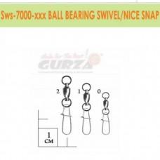 Застежка с вертлюжком Gurza - Ball Bearing swivel/Nice Snap Ni #0 5шт./уп.