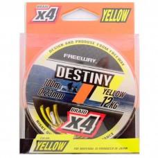 Шнур FREEWAY FWx4 DESTINY YELLOW 0.16mm 100m 6kg (желтая)