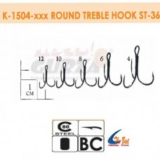 Крючки Gurza - Round treble hook ST -36  №12 BC 25шт./уп. (Dia. Wire 0,68 mm)